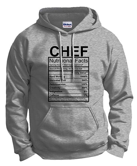 Chef Nutritional Facts Funny Hoodie Sweatshirt