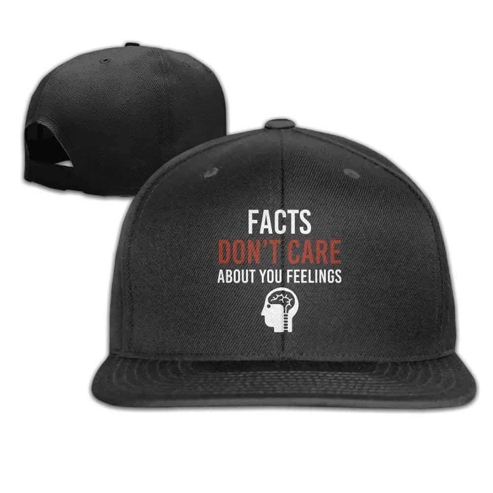 Facts Don't Care About Your Feelings Unisex Causal Fitted Flat Bill Boarder Cap